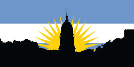 buenos: Silhouette of the Congress buiding in Buenos Aires, Argentina