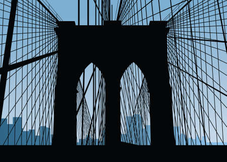 Silhouette of the Brooklyn Bridge in New York City, USA