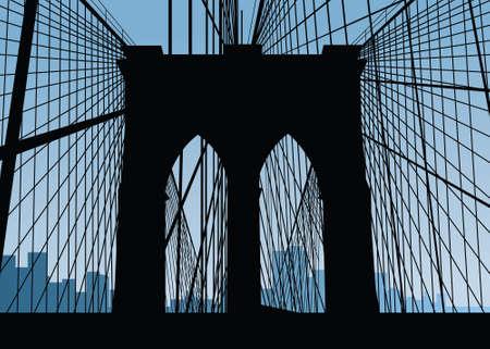 manhattan bridge: Silhouette of the Brooklyn Bridge in New York City, USA