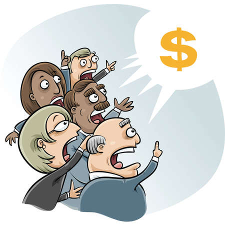 greedy: A group of vector cartoon businessmen and women bid to buy  Stock Photo