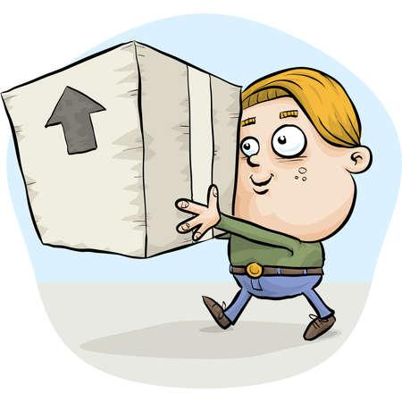taped: A boy carrying a big, cardboard box
