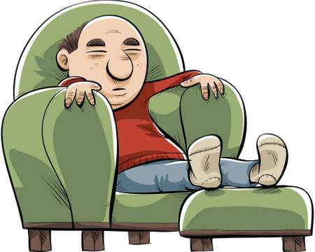 A cartoon man naps in a big, soft chair