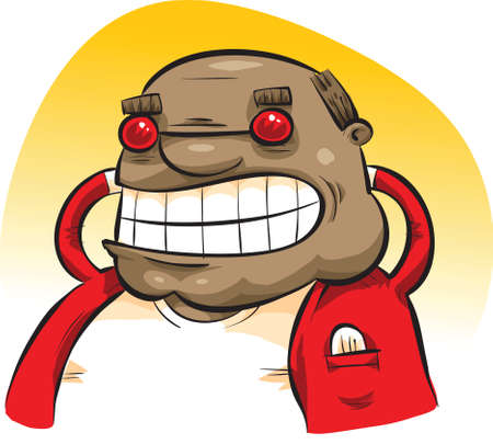 easygoing: A happy cartoon man wearing sunglasses relaxes with his hands behind his head