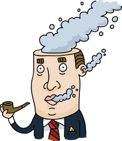 A businessman smoking a pipe with smoke pouring from his head