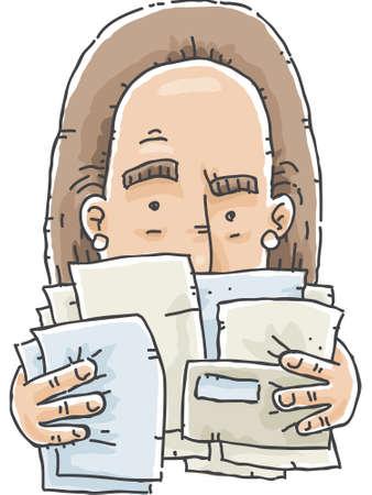 A cartoon woman making sense of a pile of bills
