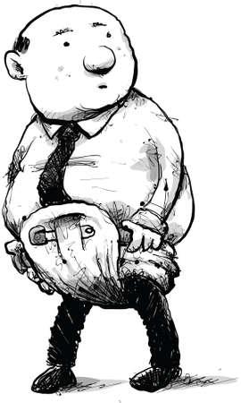 immature: A cartoon businessman wearing a baby