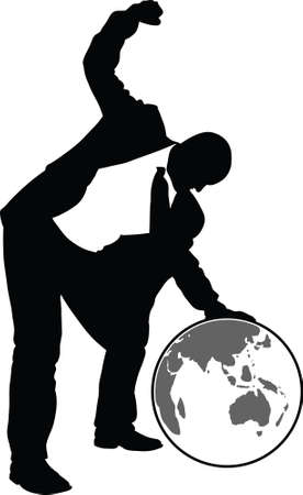 A silhouette of a businessman leaning over and beating the world with his fist