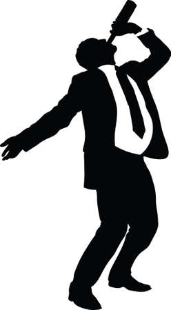 A silhouette of a businessman drinking straight from a bottle  Фото со стока