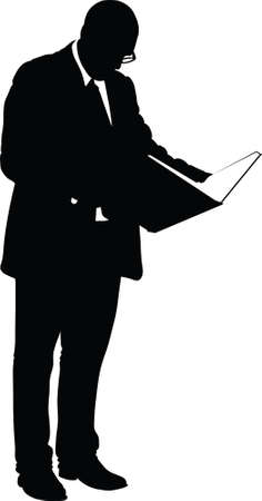 oversized: A silhouette of a serious businessman reading an oversized book.