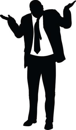 A silhouette of a businessman giving an insincere shrug. Stockfoto