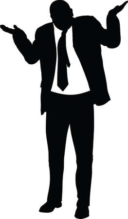 A silhouette of a businessman giving an insincere shrug. Banque d'images