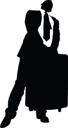 heavy: A silhouette of a businessman lifting a heavy suitcase.