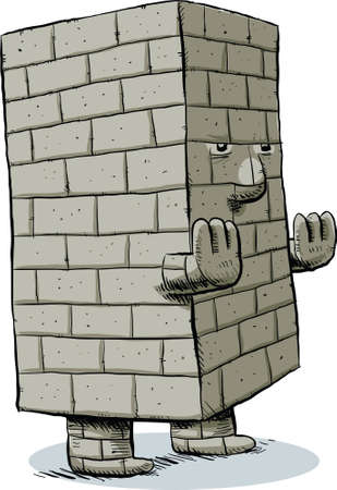 brick: A cartoon block monster, made of brick. Stock Photo