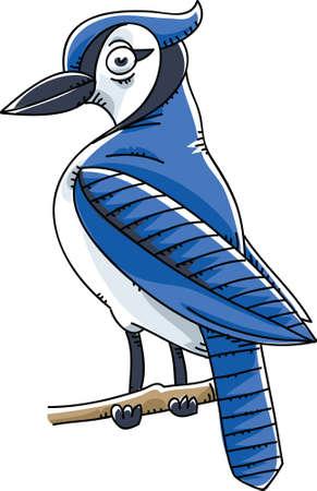 Een cartoon Blue Jay vogel zat op een takje Stockfoto