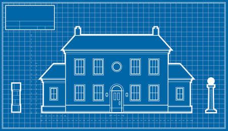 A blueprint diagram of a large mansion