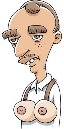 Un homme de bande dessinée portant une paire de faux seins Banque d'images - 29155931