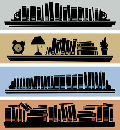 Silhouette of cartoon objects stacked on shelves  版權商用圖片