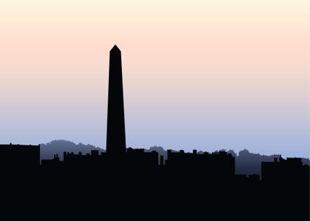 Silhouette of the monument at Bunker Hill in Boston, USA