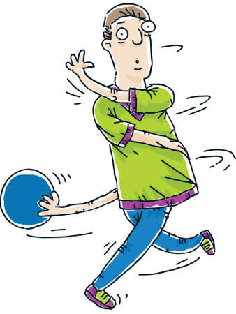 spun: A cartoon bowler loses control and is twisted around by his ball  Stock Photo
