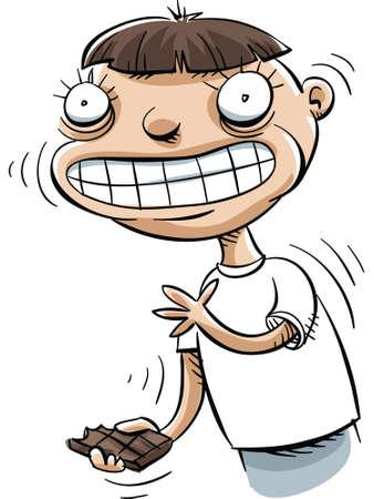 indulgence: A cartoon boy high on eating chocolate