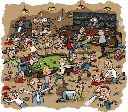 Cartoon scene of violence as a bar erupts into a huge violent brawl