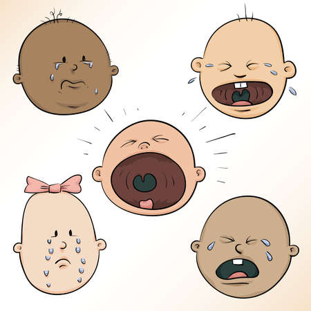 A diverse set of a variety of crying, cartoon baby faces  photo