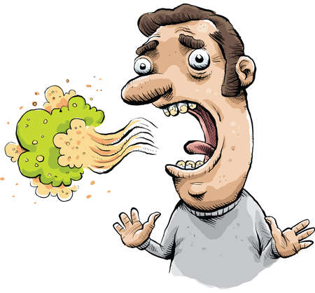 disgusting: A cloud of toxic bad breath floats from a man