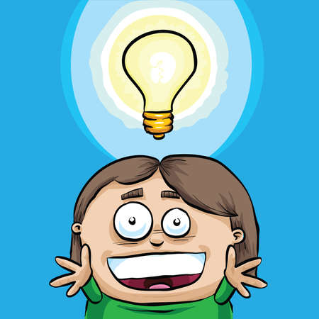 A cartoon lightbulb shows a girl being struck by inspiration  Banco de Imagens