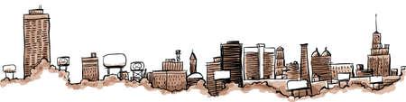 Skyline illustration of the city of Buffalo, New York, USA  Stock Photo