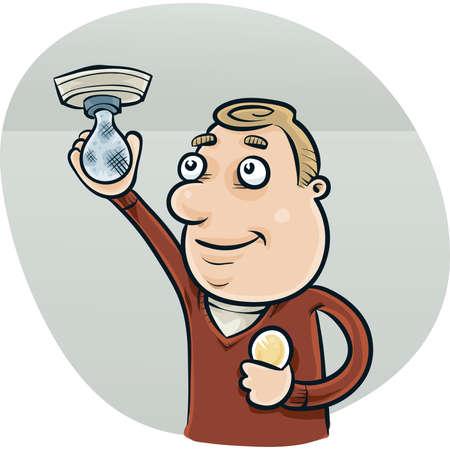 changing: A cartoon man changing a lightbulb