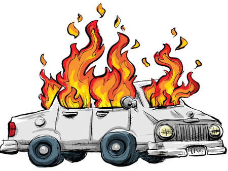A cartoon car burns in flames