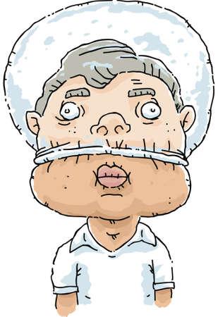 A cartoon man inflates a plastic bag stuck half over his head