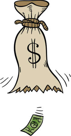 money bags: The last cartoon dollar falls from a hole in a bag