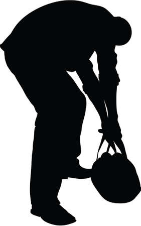 heavy: A silhouette of a man trying to lift a heavy bag