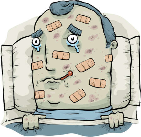 A cartoon man, sick in bed and covered with plasters Stock Photo