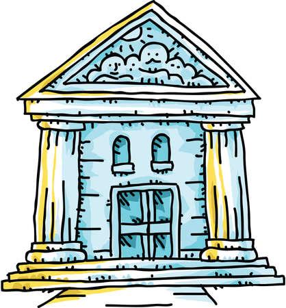 A cartoon historic bank building with bold columns