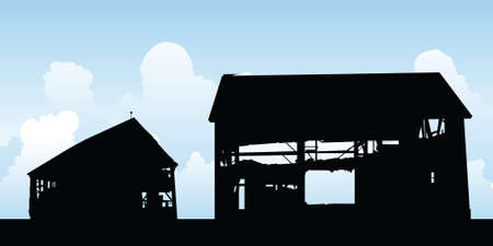 old barn: A silhouette of an old, abandoned barn