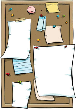 paper pin: A cork bulletin board covered with blank pieces of paper and sticky notes  Stock Photo
