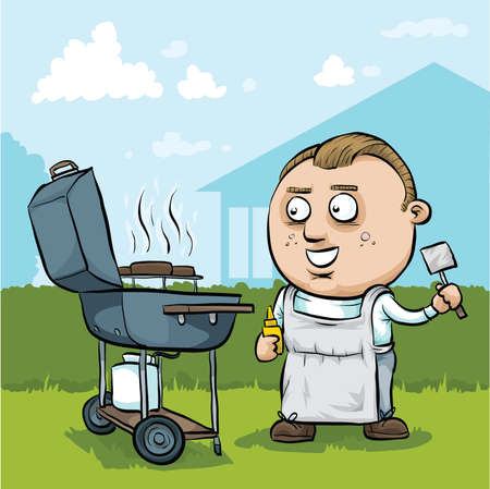 gas barbecue: A cartoon man barbeques hamburgers on a summer day