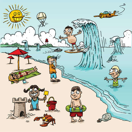 A vector cartoon beach scene with people in different activities  photo