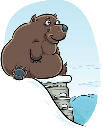 A cartoon bear sits on a cliff in the snow  Banco de Imagens