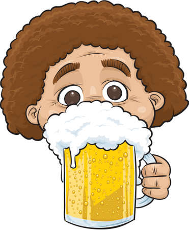 A cartoon man holding a cold, clear mug of beer