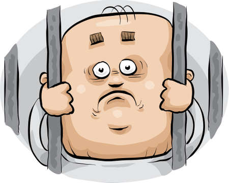 A cartoon prisoner looks sadly from behind bars