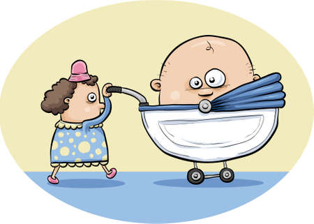 A cartoon mother pushes a stroller with a giant baby inside it Stok Fotoğraf - 29156234