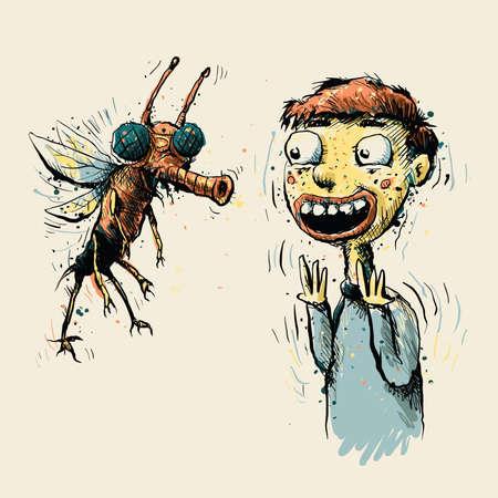 A big bug amuses a cartoon boy