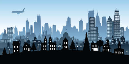 smoke stack: Cartoon view of a big city from residential to downtown