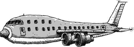 Cartoon of a commercial jet aircraft