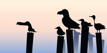 Cartoon silhouette of birds perched on waterfront posts.