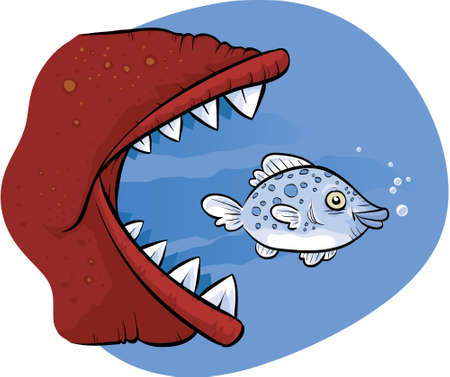 eaten: A cartoon fish about to be eaten by a much larger fish.