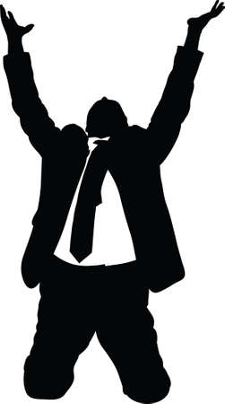 begging: A silhouette of a businessman kneeling and begging. Stock Photo